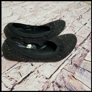Black Sparkly Rhinestone Scrunch Ballet Flat 8